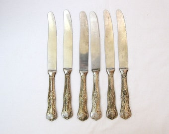 Vintage silver plated alpaca knives Italian cutlery marked from 60-70s