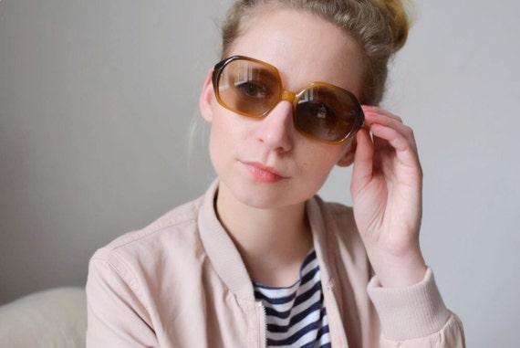 Vintage Christian Dior glasses designer sunglasses French 70s womens ombre amber oversized statement frame eyewear