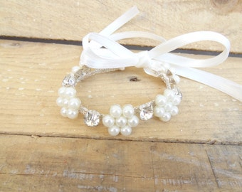 Pearl and Rhinestone Wedding Pearl Bracelet, Ivory Pearl Bracelet, Wedding Jewelry,  Bridesmaid Gifts, double strand bracelet