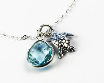 All Sterling Silver Sea Turtle Aquamarine Necklace, Nature Inspired Gemstone Sterling Aquamarine Jewelry