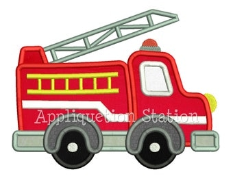 Cute Fire Engine Truck Applique Machine Embroidery Design boy emergency vehicle car INSTANT DOWNLOAD