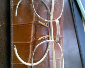 Vintage Art Deco  Gold filled Eyeglasses with original leather case  Free Shipping