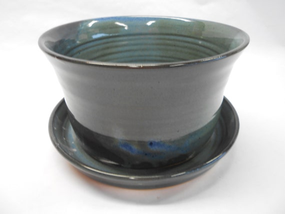 Pottery Planter And Plate Ceramic Planter And Plate Planter