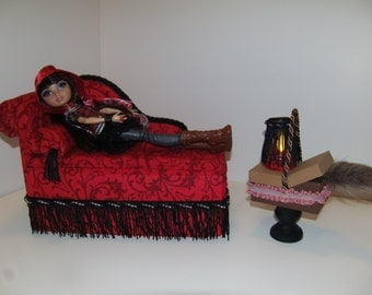 Furniture for Ever After High Dolls Handmade Chaise Lounge Bed for Cerise Hood with Picnic Basket Table and Working Lamp!