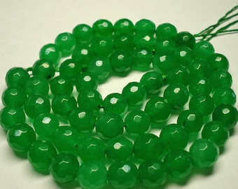 "EMERALD faceted beads (6mm / 15"" strand / full drill)"