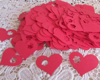 paper hearts valentines day be mine red hearts with flower punch  500 pieces