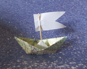 paper boat origami decoration sail boats maps atlas nautical ocean beach summer holidays