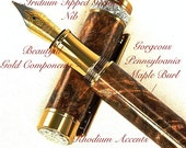 Handcrafted Wooden Pen Fountain Pen Handcrafted BurlShack Maple Burl Beautiful Gold Components with Rhodium Accents 649FPW