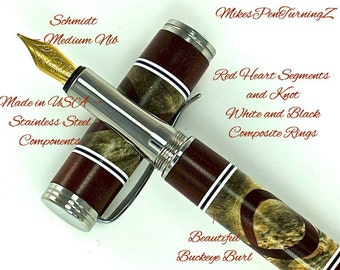 Custom Wooden Pen Fountain Beautiful Buckeye Burl RedHeart Segments and Knot White and Black Segments Made in USA Stainless Steel 715FPSSG