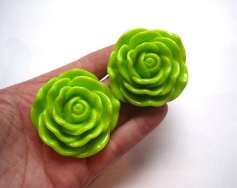 2 Lime Green Flower Beads, 45mm Focal Bead, Rose Beads, Chunky Beads, Necklace Focal Beads, Acrylic Beads