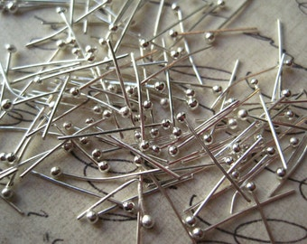 100 Ball Pins, Silver Color Ball Headpins, 14mm x .5mm, Tiny Ball Headpin, 24 ga, Jewelry Finding