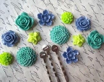 Flower Cabochon Bobby Pin Kit, 12 pcs, Teal, Lime Green, Cornflower Blue Resin Cabochons, Resin Roses, Dahlias, DIY Bobby Pins
