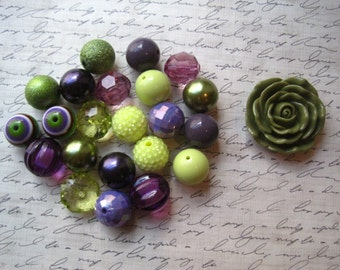 Chunky Necklace Kit, Fall Colors, Purple Green and Lemon Lime, Gumball Bead Kit, Bubblegum Necklace Kit, Hardware Included, DIY Necklace