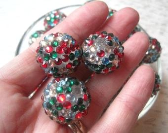 Rhinestone Beads, 20mm Red and Green Bumpy Bead, 6 pcs, Disco Ball Bead, Gumball Beads, Bubblegum Bead, Acrylic Bead, Chunky Beads