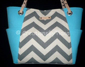 Chevron Bags and Purses, Handmade, with Leather handles, Turquoise, Canvas Bags