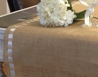 "Burlap Premium Ribbon Table Runner - 12"" wide by 84"" long Natural Burlap - Holiday - Wedding or Party - burlap runners"