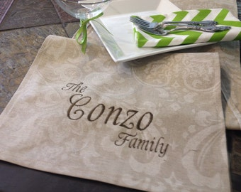 """Personalized Premium Monogram Table Runner - 12"""" wide by 8 feet long (96"""") Cloud Damask - Wedding or Party runners"""