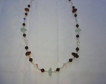 seafoam and brown beach glass necklace