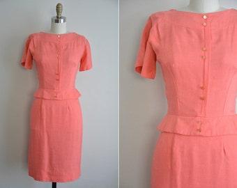50s Island Punch dress/ vintage 1950s coral dress/ 50s wiggle sundress