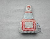 Handmade fabric embroidered doll + a present necklace