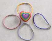 Custom Listing for Gail -- Felted Rainbow Heart on Lavender Cord Bracelet