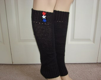 Patriotic Knitted Leg Warmers, Dark charcoal Gray Boot Topper with Star Buttons Woman Knit Boot socks, Girl Boot Cuffs, Stocking Stuffers