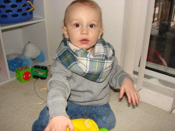 Baby Boy Infinity Scarf Flannel Green Blue Plaid Infinity