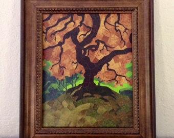 Autumn Oak - Original Paper Mosaic Art Created From Disneyland Maps