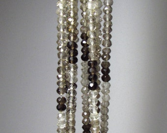 Ombre Shaded Smokey Quartz Faceted Rondelle Beads  4mm