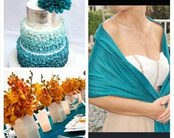 TEAL JADE PASHMINA. Pashmina Scarf. PAshmina Shawl. Teal Scarf. Bridesmaid shawl. Bridesmaid gifts. Wedding Favors