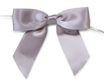 """Silver Grey 3"""" Pre-Tied Satin Bows with 5"""" Twist Ties~ 7/8"""" ribbon- Pack of 6"""