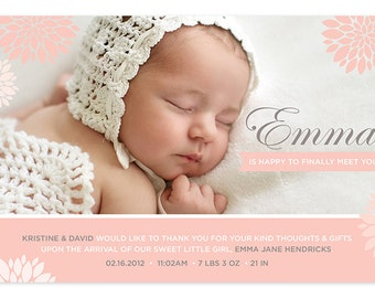 Girl Birth Announcement with Photo - Flowers