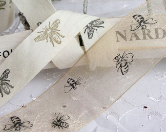 Bee Print Ribbon, Cotton or Chiffon Ribbon, Bumble Bee Ribbon, By the Metre, Cotton, Primitive