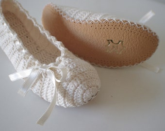Slipper and leather bottom Bridal wedding dance shoes