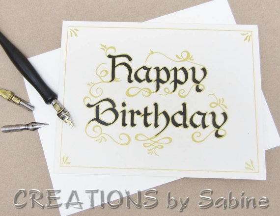 Happy birthday greeting card calligraphy handwritten original
