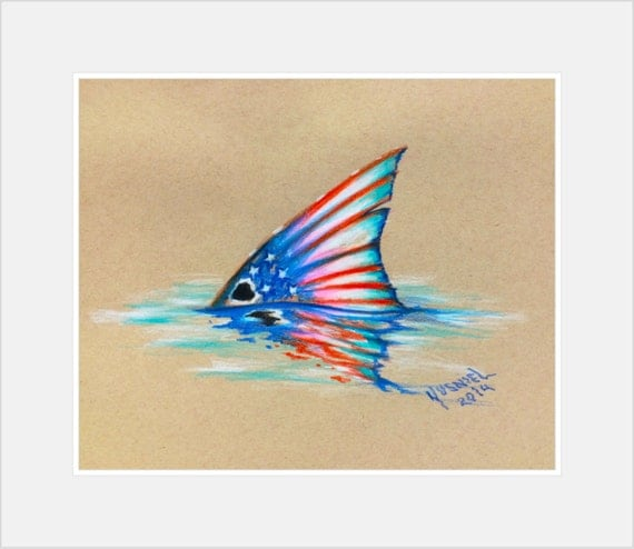 Redfish tail drawing for American flag fish