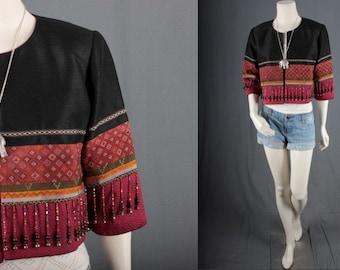 Black jacket embroidery fringe tassel bells Bohemian Gypsy Boho Women size M medium