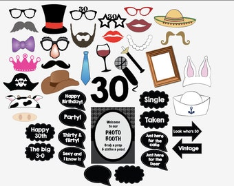 30th birthday photo booth props PRINTABLE thirtieth party photobooth 30 thirty