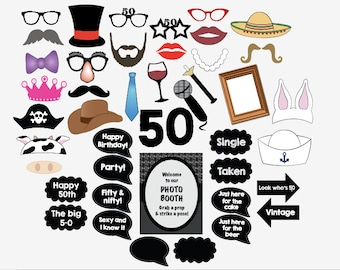 50th birthday photo booth props PRINTABLE fiftieth party photobooth 50 fifty