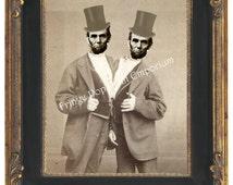 Victorian Sideshow Abraham Lincoln Art Print 8 x 10 - Circus Freak - Altered Art Abraham Lincoln - Siamese Twins