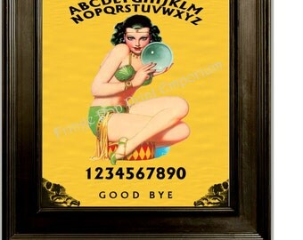 Fortune Teller Pin Up Art Print 8 x 10 - Ouija Flapper - Altered Art - Pinup on Ouija Board - Crystal Ball