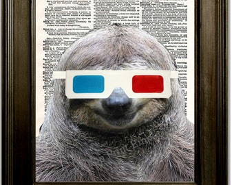 Sloth 3D Glasses Art Print 8 x 10 Dictionary Page - Sloth Wearing 3D Glasses - Quirky Hipster Pop Art