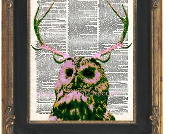 Antlers Owl Art Print 8 x 10 Dictionary Page - Taxidermy Bird Pop Art - Whimsical Woodland Deer