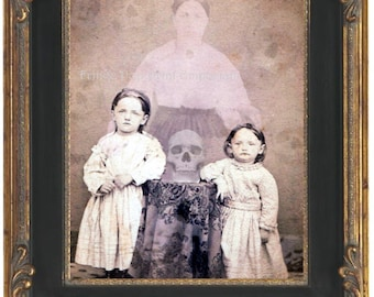Victorian Ghost Art Print 8 x 10 - Altered Art Spirit Photo - Sisters Conuring Mom - Ghosts - Occult - Spiritualism - Seance - Skull Medium