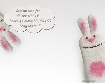 Bunny case, handmade phone case, eco-friendly case, cases for iPhone 4/5, for iPhone 6/6 Plus, for Galaxy  S3/S4/S5, felt case