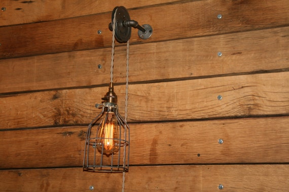 pulley wall mount light industrial wall sconce pendant. Black Bedroom Furniture Sets. Home Design Ideas