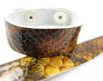 "Patent Snake Rust Leather Cuff Bracelet 5/8"" Wide, #57-85851647"