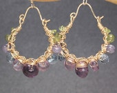Hammered earrings with peridot, tanzanite, blue topaz & amethyst Siren 180
