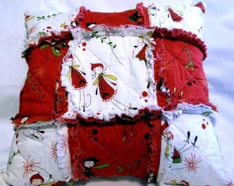Rag Pillow, Quilted, Fairies