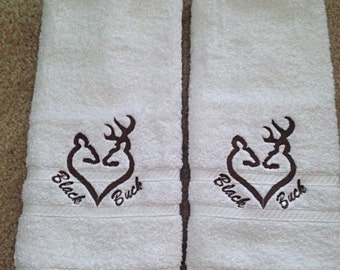 2 Buck/Doe LOVE heart embroidered hand towels